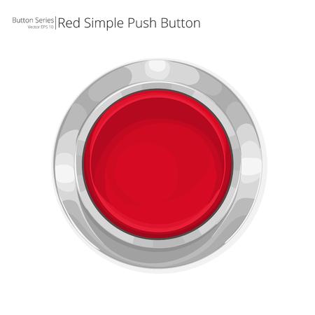 El botón rojo. Rojo simple pulsador. Ilustración de vector
