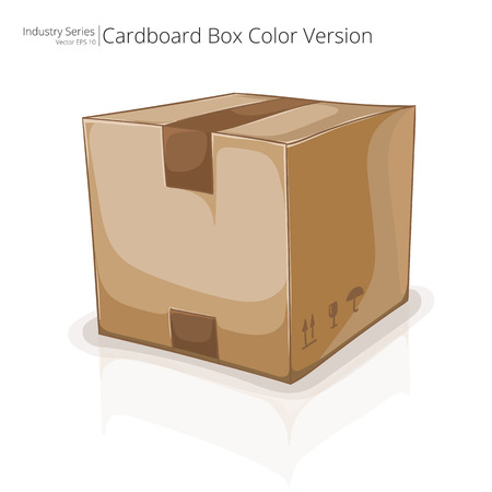 carboard box: Cardboard Box. Abstract closed Cardboard Box. Front perspective view. Illustration