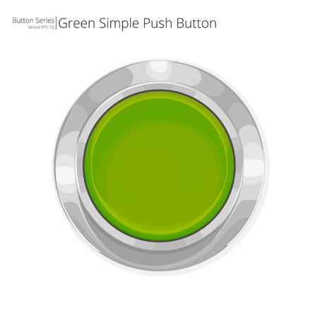 緑のプッシュ ボタン。単純な緑プッシュ ボタン。
