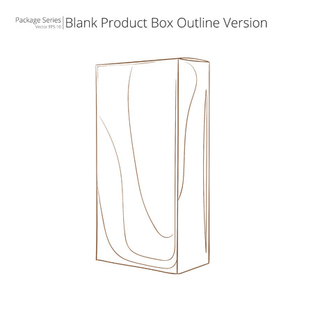 boxed: Blank Product Box. Abstract Product Package Box. Outline Version.