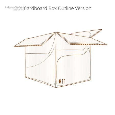 carboard box: Cardboard Box. Abstract open Cardboard Box. Front perspective view. Outline Version. Illustration