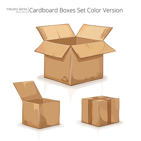cardboard boxes: Cardboard Boxes. Abstract set of Cardboard Boxes. Color series.
