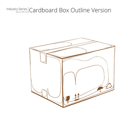 carboard box: Cardboard Box. Abstract closed Cardboard Box. Outline Version. Side view.