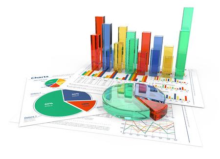 Analyseren. Financiële documenten met kleurrijke 3D-grafieken en cirkeldiagrammen van glas. Stockfoto - 57252852