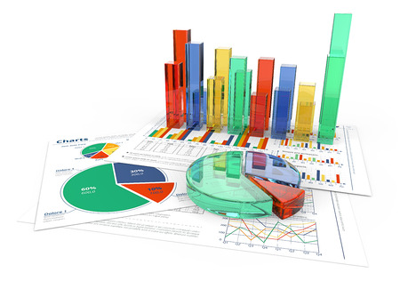 Analyze. Financial documents with colorful 3D graphs and pie charts of glass.