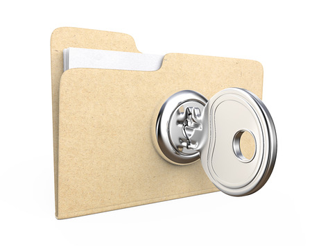 folders: Secure files. Manila file Folder with  lock and Key. Brown Paper Texture.