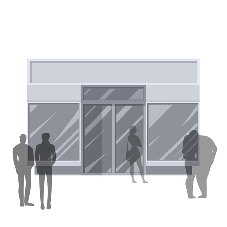 front view: Shopping. Abstract illustration of Urban Shop Facade and People Shopping. Front view. Retail Series.