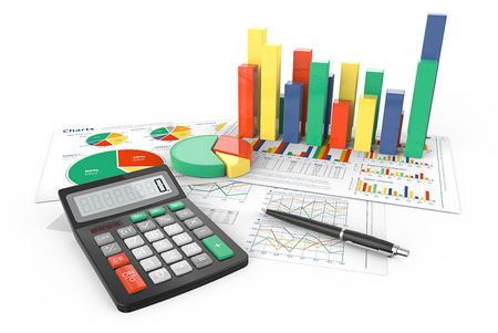 calculate: Calculate. 3d Illustration of Financial documents with colorful 3D graphs and pie charts. Pen and Calculator.