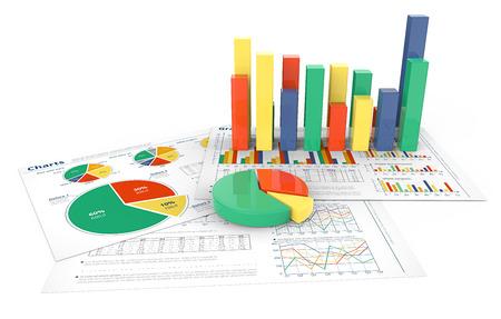 Rapports financiers. 3d illustration des documents financiers avec des graphiques 3D colorés et graphiques circulaires.