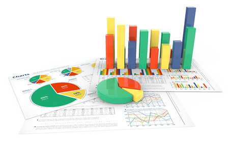 financial reports: Financial Reports. 3d illustration of Financial documents with colorful 3D graphs and pie charts. Stock Photo