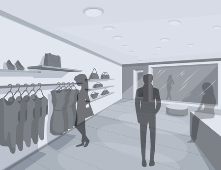 sketch: Shop Interior. Abstract illustration of Clothes Shop Interior and People Shopping. Retail Series. Vector EPS10. Illustration