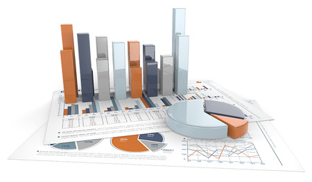 economic: Graphs and Charts. 3D render of financial documents with graphs and pie charts. Calm Colors. Stock Photo