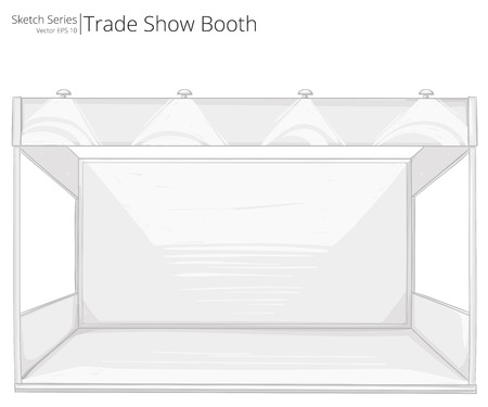 Trade Show Booth. Abstract Rough Sketch of empty Trade Show Booth. Copy Space.