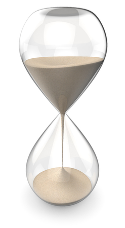 Sand Glass. 3D render of a Classic Hourglass. Stock Photo
