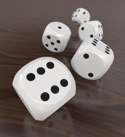 dof: 5 White Dices. 3D Render of 5 classic white dices rolling forward on wooden background. Medium DOF.