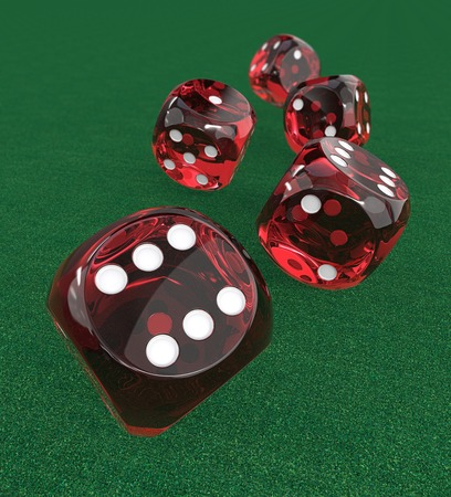 5 Red transparent Dices. 3D Render of 5 classic Red dices rolling forward on Green Casino Felt. Medium DOF. Stock Photo