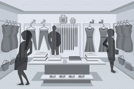 clothing shop: Clothes Shop. Abstract illustration of Clothes Shop Interior and People Shopping. Retail Series. Vector EPS10.