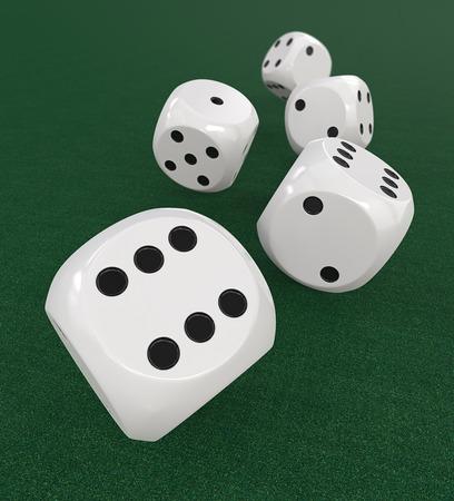 dof: 5 classic white Dices. 3D Render of 5 classic White dices rolling forward on Green Casino Felt. Medium DOF.