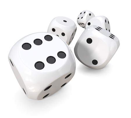 dices: 5 white dices. 3D Render of 5 classic white dices rolling forward.