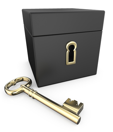 key hole: Golden Key. 3D Render of Closed Black Box with Golden Key.