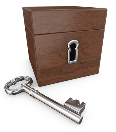 Secrets. 3D Render of Closed Wooden Back with Key.