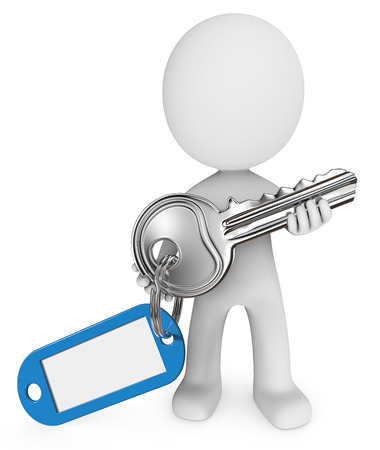 key ring: Dude 3D character holding Key with key ring and Blue Badge. Blank for Copy Space. Stock Photo