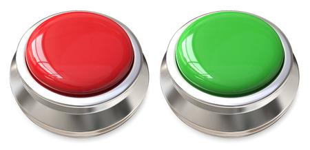 赤と緑のボタン。赤と緑のプッシュ ボタンの 3 d のレンダリング。コピー スペースは空白です。