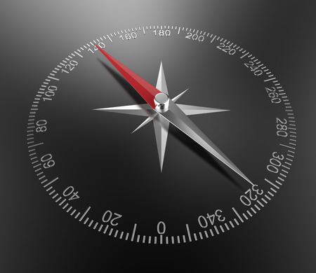 guidance: Guidance. 3d render of Abstract Compass on Black Background.