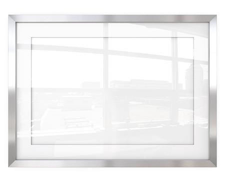 glass reflection: Abstract Steel Frame. 3D render of Metal Frame with white Passe-partout. Urban Reflection on Glass.
