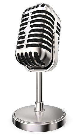 chrome base: Retro Microphone. 3D render of retro Microphone on flip stand. Non branded. Stock Photo