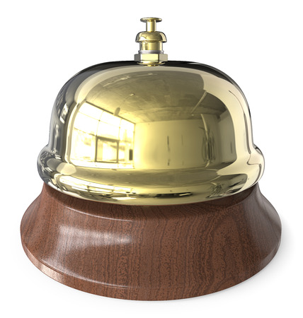 Brass Reception Bell. 3D render of classic metal Reception Bell. Brass and wood.