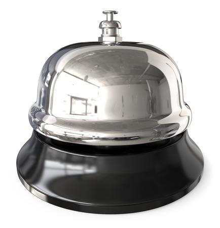 Reception Bell. 3D render of classic metal Reception Bell. Steel,silver and Black. Slightly worn look.