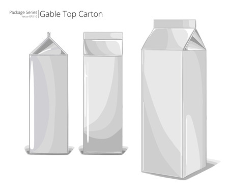 cartons: Gable Top Cartons. Vector, Illustration of standard Gable Top Package. 3 Angles.