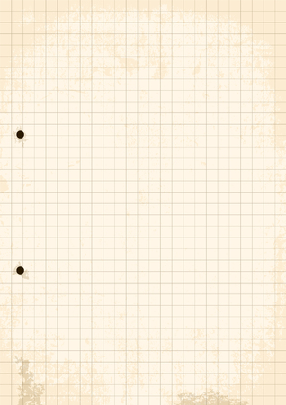 grid paper: Grunge Grid Paper Sheet. Vector, Illustration of Grunge Grid Paper Sheet with holes.