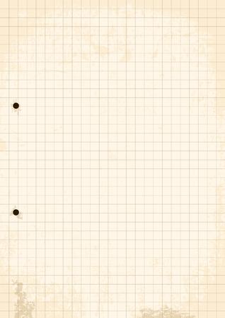 Grunge Grid Paper Sheet. Vector, Illustration of Grunge Grid Paper Sheet with holes.