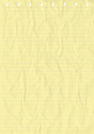 yellow notebook: Wrinkled Yellow sheet of line Paper. Vector, Illustration of Wrinkled Yellow sheet of line Paper with holes.