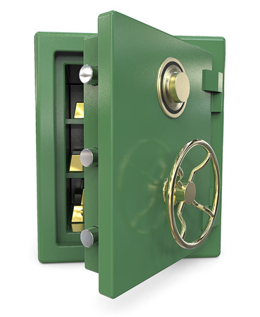 gold bars: Safe with Gold Bars. 3D render of a open Security Safe with Gold Bars. Green and brass.