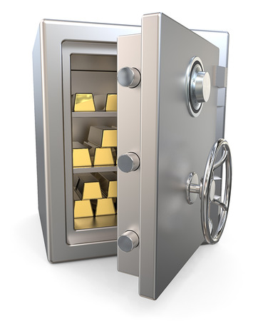 strong: Steel Security Safe with Gold Bars.  3D render of a open Steel Security Safe with Gold Bars.