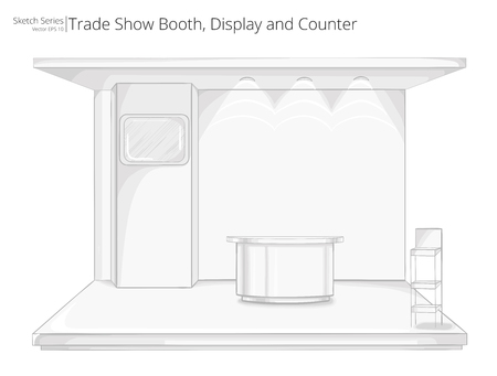 movable: Trade Exhibition Show Booth. Illustration Sketch of Trade Exhibition Show Booth. Display and Counter.