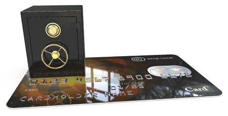 branded: Secure Credit Card. 3D render of Credit Card with a Black and Brass Safe. Generic names and numbers, non branded. Stock Photo