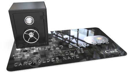 branded: Credit Card Security. 3D render of Credit Card with a Black Steel Safe. Generic names and numbers, non branded.