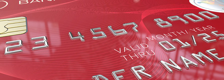macro: Macro Red Credit Card. Panorama Macro view of Credit Card with Chip. Red pattern plastic. 3D render. Generic names and numbers, non branded. Stock Photo