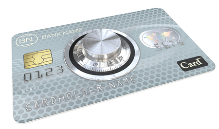 dial lock: Safe Payments. 3D render of Blue Credit Card with a Safe Dial Lock. Generic names and numbers, non branded.