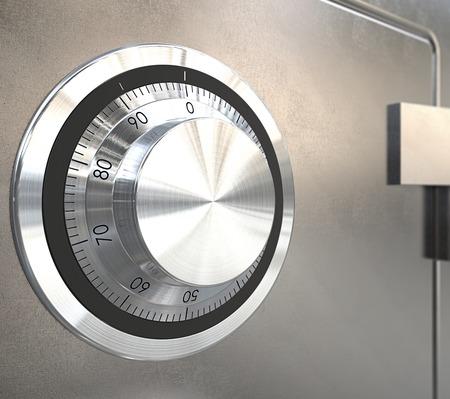 caja fuerte: Bloqueo de caja fuerte. Primer plano de una cerradura de acero caja fuerte. Poca profundidad de campo. Foto de archivo