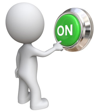 large: ON. Dude 3D character pushing Large Green ON Button. Stock Photo