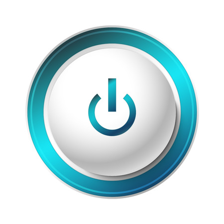 Blue Power Button. Vector Illustration of a Power Button. Blue light effect. Illustration