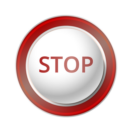 warn: Stop Button.  Vector Illustration of a red Stop Button. Illustration
