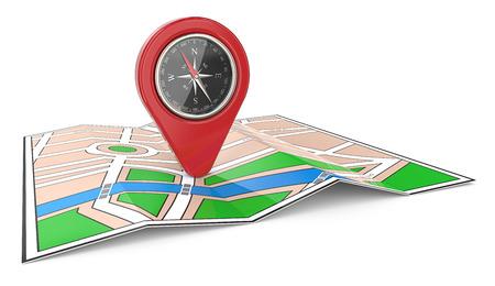 Navegación. 3D rinden de un mapa con el indicador y la brújula rojos de GPS.