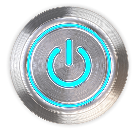 view: Power Button. 3D render of a Power Button of brushed Steel. Blue LED Light. Top view.