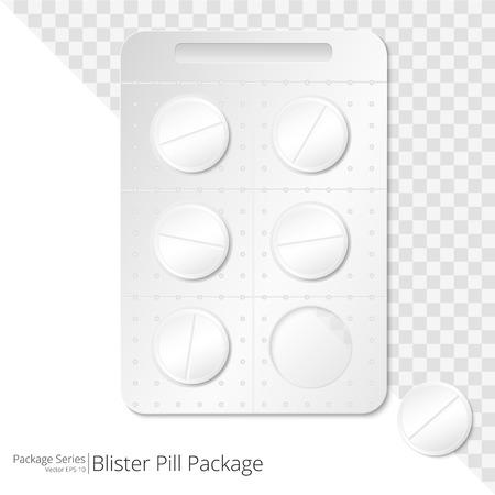 Pills Blister Package. Vector Illustration of Blister Package of 5 Pills. One pill outside blister.